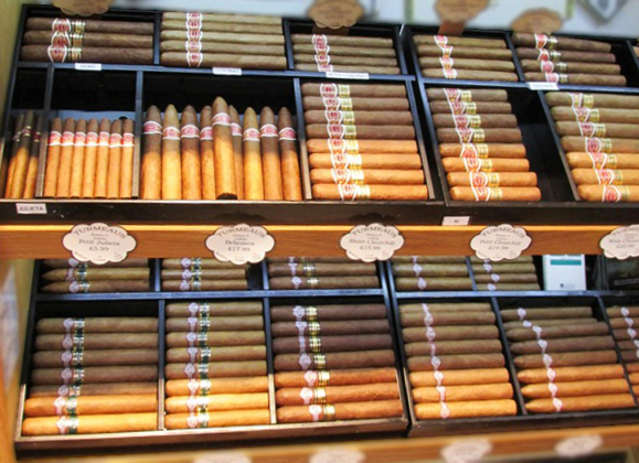 Correctly stored cigars in a walk in humidor