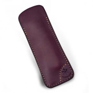 LES FINES LAMES Le Petit Leather Cigar Pocket Knife Cutter Case - Burgundy