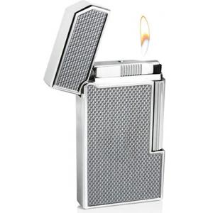 Caseti Full Cap Soft Flame Flint Lighter - Chrome Plated & Silver Carbon Fibre (End of Line)