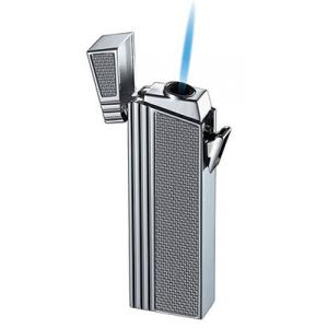 Caseti Push Button Jet Flame Lighter - Chrome Plated & Engine Turn Silver Carbon (End of Line)