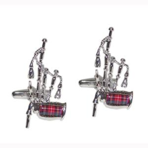 Royal Stewart Tartan Scottish Bagpipes Cufflinks