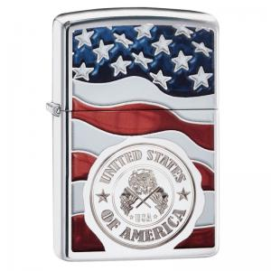 Zippo - American Stamp on Flag - Windproof Lighter