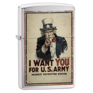 Zippo - Brushed Chrome - US Army I Want You - Windproof Lighter