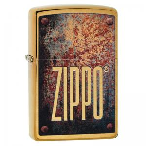 Zippo - Brushed Brass Rusty Plate Design - Windproof Lighter