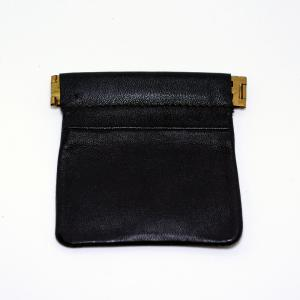Black Leather Snap Coin Purse
