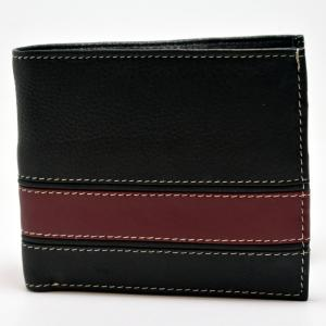 Black & Burgundy Leather Wallet with Credit Card & Coin Holder