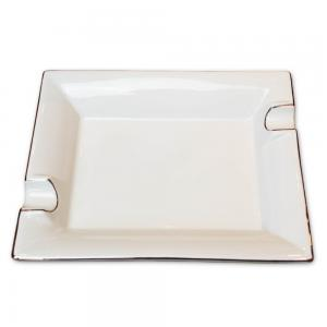 Bianco Square Ceramic Cigar Ashtray - White with Silver Trim - 2 Cigars Rest