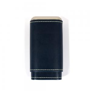 Artamis Robusto Navy Leather Cigar Case with White Stitching - Fits 3 Cigars