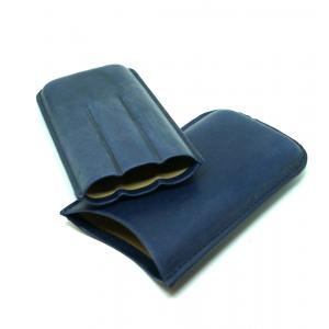 Artamis Robusto Navy Leather Cigar Case - Fits 3 Cigars