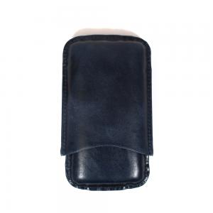 Artamis Corona Navy Leather Cigar Case - Fits 3 Cigars