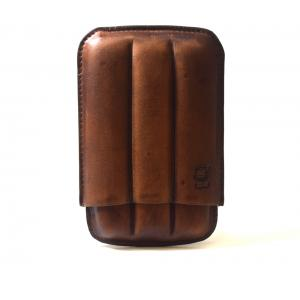 Chacom CIG-R Brown Leather 3 Finger Cigar Case - Fits 3 Cigars