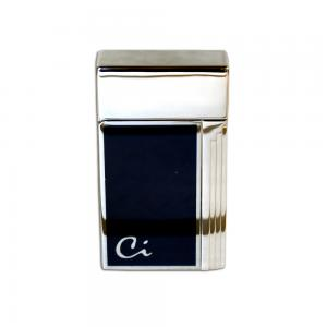 Caseti Full Cap Jet Flame Lighter - Chrome Plated Blue Lacquer (End of Line)