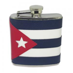 Cuban Flag Deluxe Leather 6oz Hip Flask