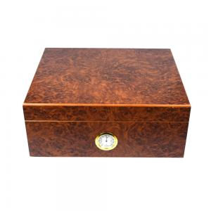 Norfolk Dark Burl Humidor With External Hygrometer - 30 Cigar Capacity