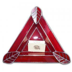 Artisan Glass Cigar Ashtray – Tri Rest  – Ruby Red