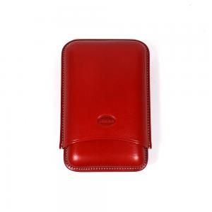 Jemar Leather Cigar Case - Robusto - 3 Finger -  Rojo Red