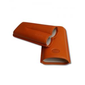 Jemar Leather Cigar Case - Large Gauge - Two Cigars - Orange