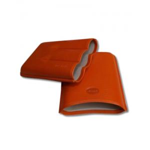 Jemar Leather Cigar Case – Large Gauge - Three Cigars - Orange
