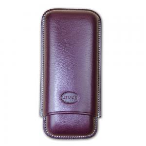 Jemar Leather Cigar Case – Large Gauge - Two Cigars - Dark Aubergine