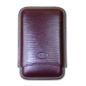 Jemar Leather Cigar Case - Large Gauge - Three Cigars - Dark Aubergine