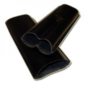 Plain Leather Cigar Case - Two Churchill - Black