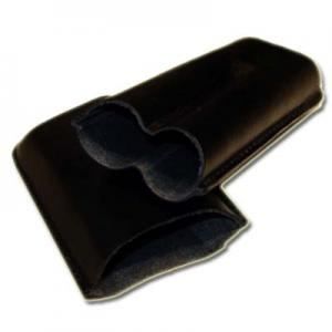 Plain Leather Cigar Case - Two Corona - BLACK