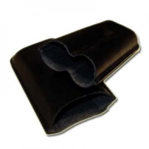 Plain Leather Cigar Case - Two Petit Corona - Black
