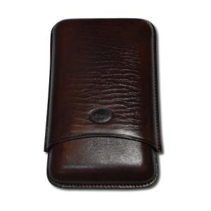 Jemar Leather Cigar Case – Large Gauge - Three Cigars - Brown