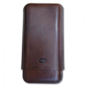 Jemar Leather Cigar Case – 3 Finger - 70 RG - Brown
