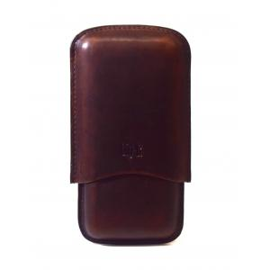 Chacom CIG-R Retro Brown Leather 3 Finger Cigar Case - Fits 3 Cigars