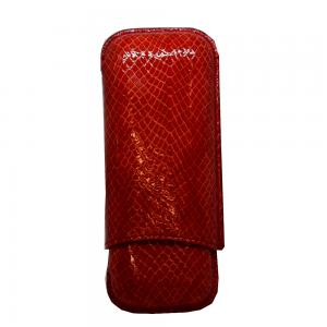 Recife Red Textured Cigar Case - 2 Cigar Capacity