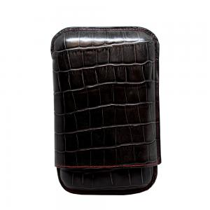 Recife Black Textured Cigar Case - 3 Cigar Capacity