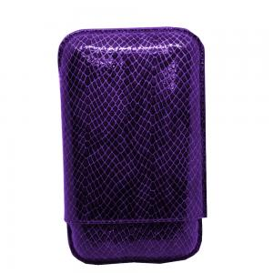 Recife Purple Textured Cigar Case - 3 Cigar Capacity