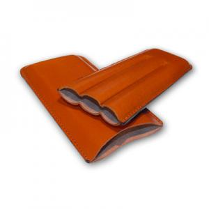 Plain Leather Cigar Case – Three Petit Corona - TAN