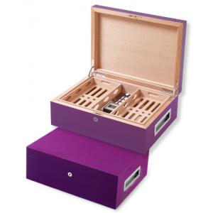 Villa Spa Cigar Humidor - up to 200 Cigar Capacity - Purple