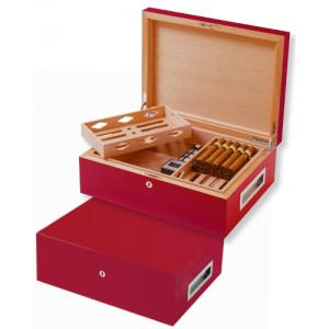 Villa Spa Cigar Humidor – up to 200 Cigar Capacity – Red