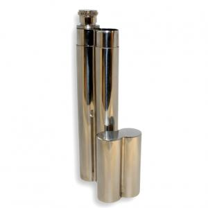 Polished Metal Single Cigar Tube with Flask