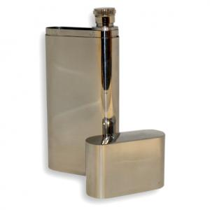 Polished Metal Double Cigar Tube with Flask