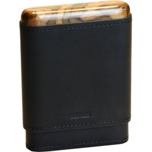 Adorini Leather Adaptable Black Wooden Top & Bottom Cigar Case - 3/5 Cigar Capacity
