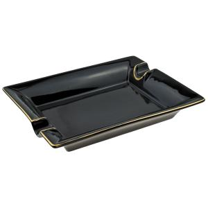 Black and Gold Two Rest Cigar Ashtray