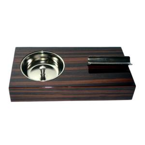 Ebony Wood Veneer Single Position Cigar Ashtray