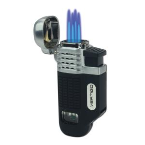 Vertigo by Lotus - Equalizer Quad Torch Flame Lighter - Black & Silver