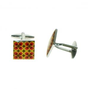 Retro Red, Yellow and Brown Pattern Pattern Cufflinks