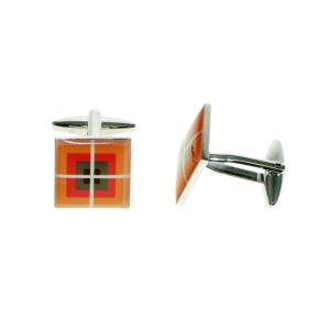 Retro Red Large Squares Cufflinks
