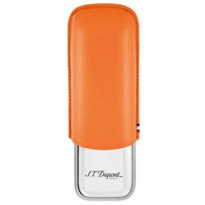 ST Dupont Leather Double Cigar Case Metal Base - Orange
