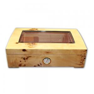 Burl Maple Window Humidor - 50 Cigar Capacity
