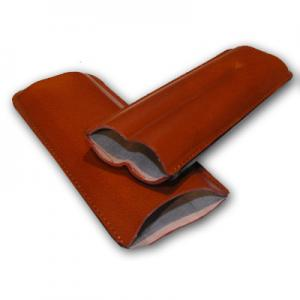 Plain Leather Cigar Case - Two Churchill - Tan