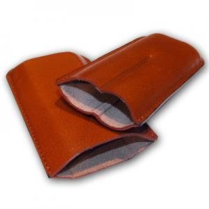 Plain Leather Cigar Case - Two Robusto - TAN