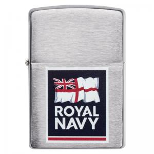 Zippo - Brushed Chrome Royal Navy Logo - Windproof Lighter