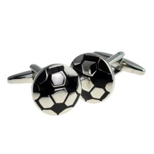 Silver and Black Football Cufflinks